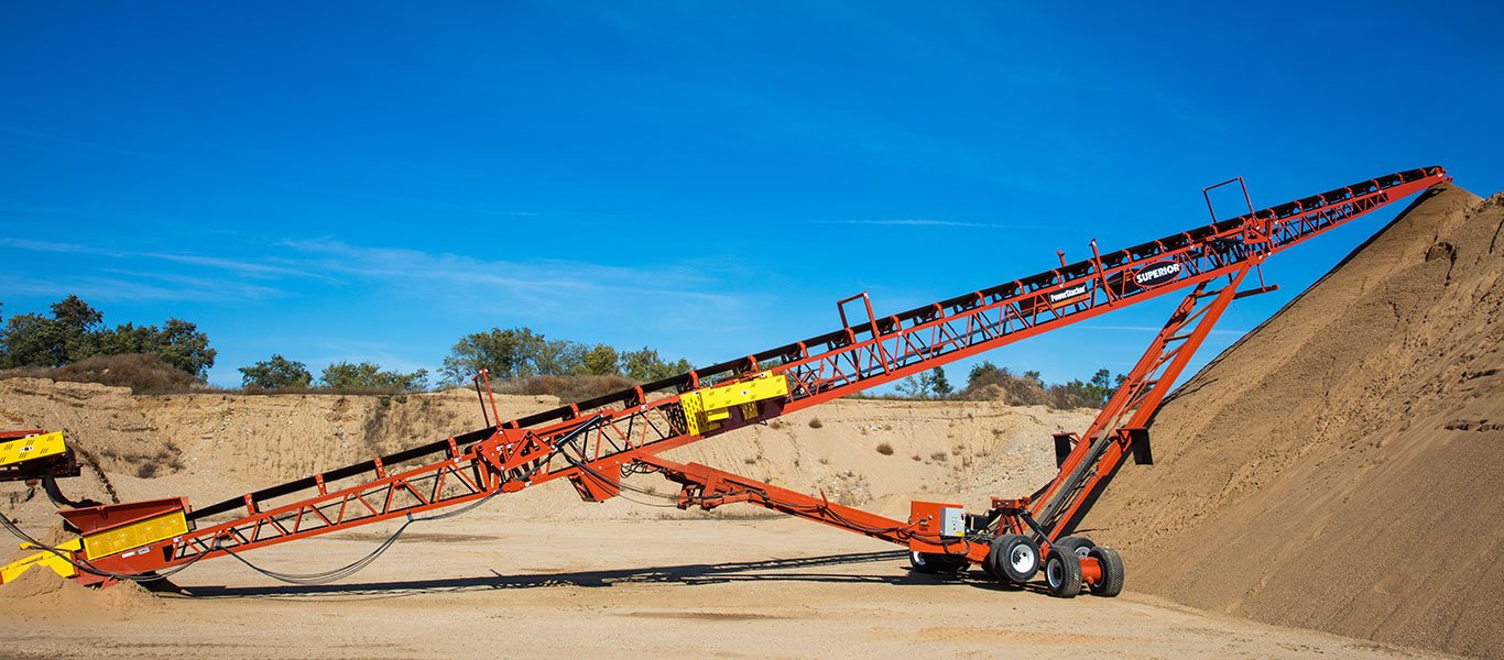 The PowerStacker Conveyor is designed to stockpile material up to 1,500 tons per hour.
