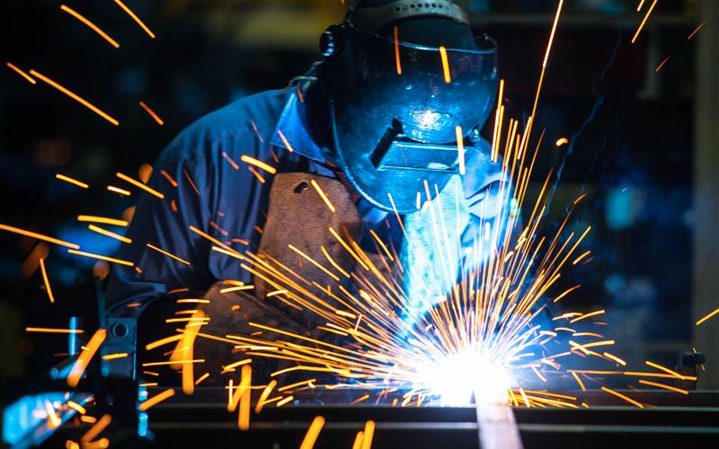 A welder is welding