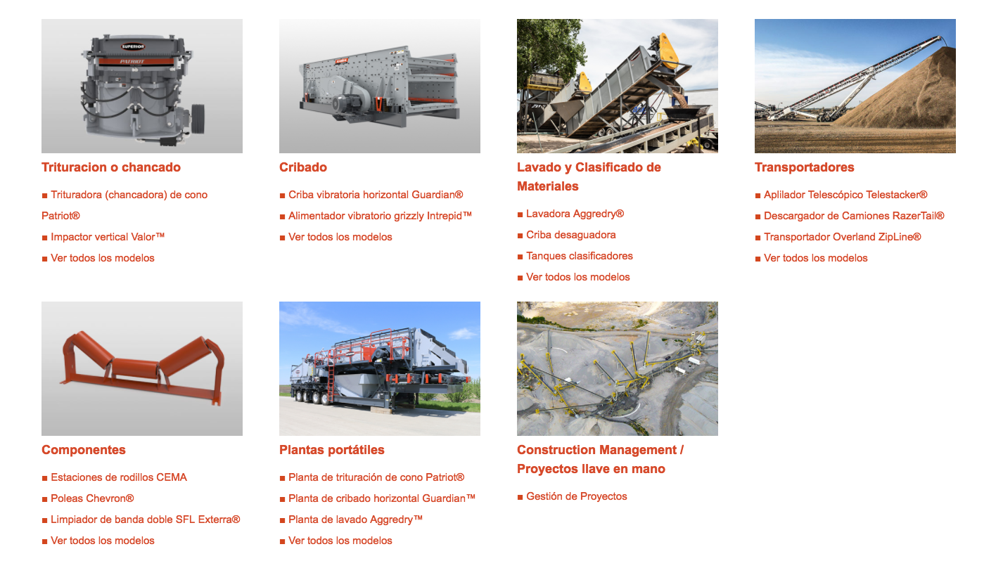 Spanish website for Superior Industries