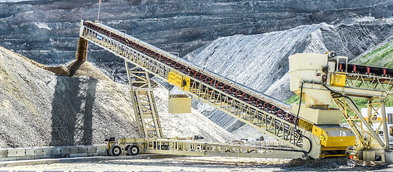 Telescoping conveyor stacking aggregate material in Salt Lake City.