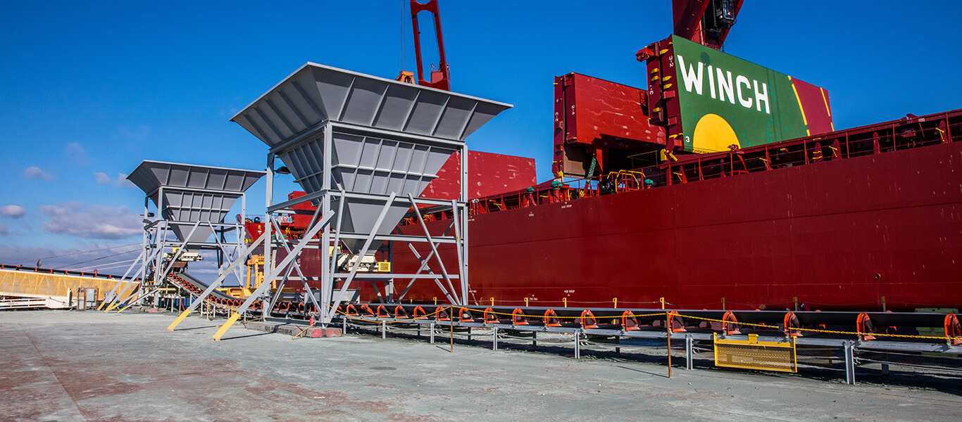 ship unloading application featuring Superior Industries equipment.
