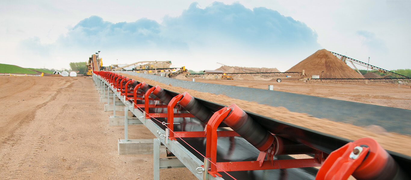 Overland conveyor operating for Dakota Aggregates.
