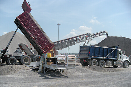 truck unloading aggregates