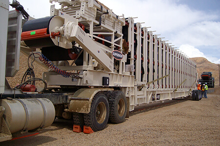 Trailblazer® Conveyor in transport mode arriving at Newmont Mining Corporation's Phoenix mine.