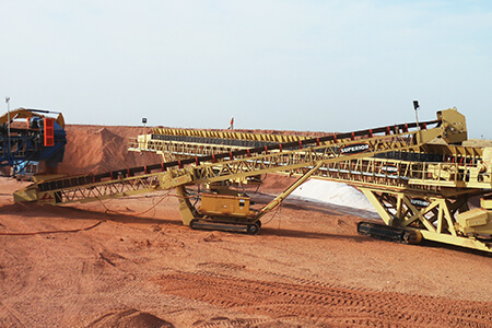 conveyors set up in heap leach application