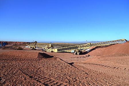 Grasshopper conveyors configured to feed stacking conveyor.